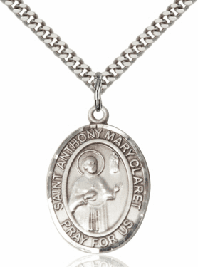 St Anthony Mary Claret Sterling Silver Saint Medal Necklace with Chain by Bliss