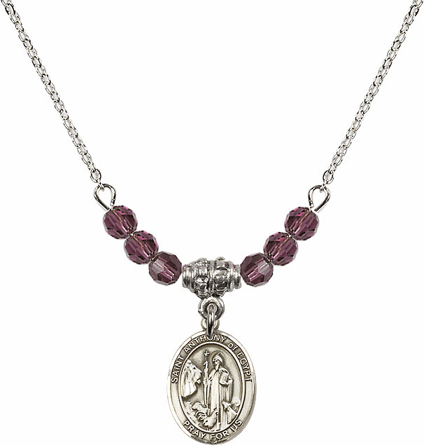 "Bliss Mfg St Anthony of Egypt 4mm Swarovski Crystal February Amethyst Necklace ""More Colors"""