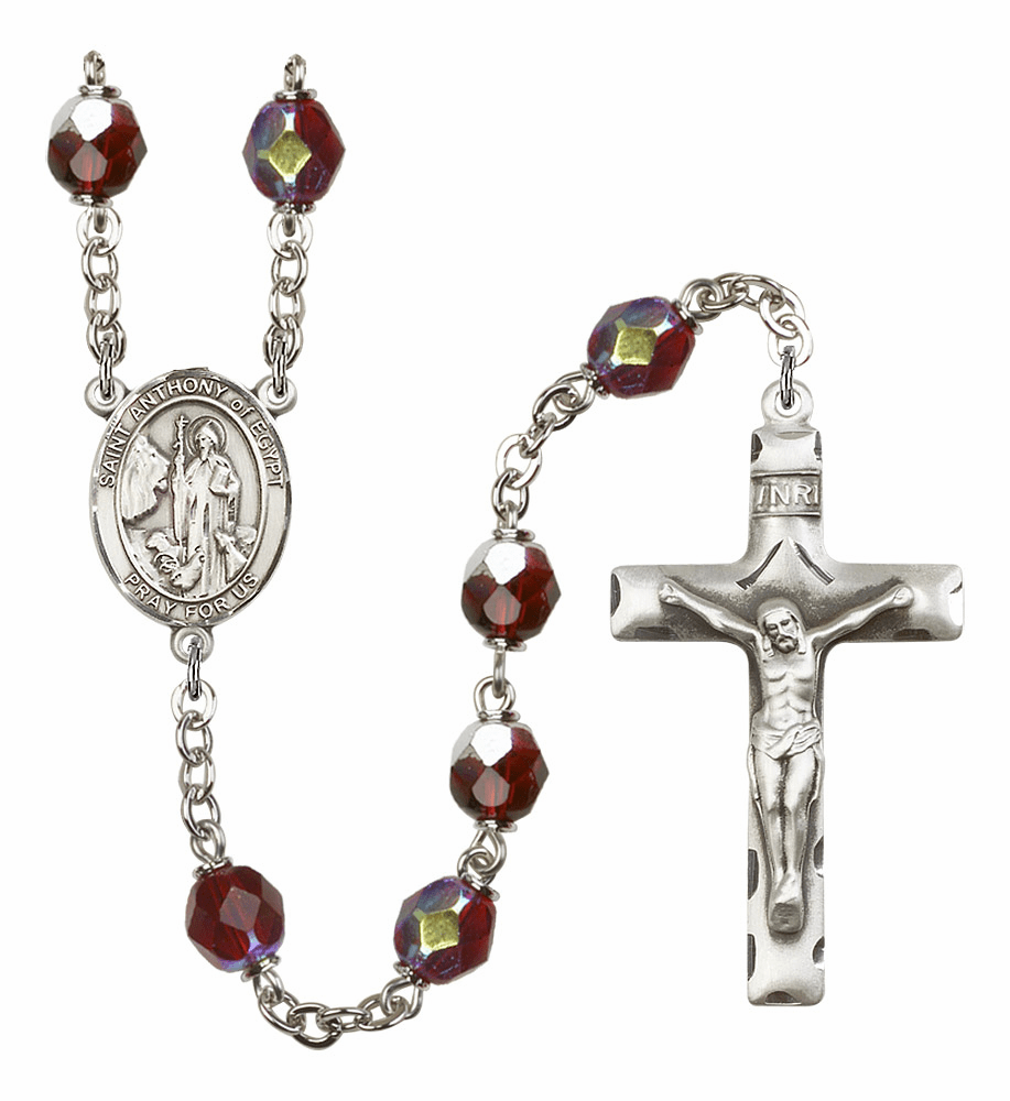 St Anthony of Egypt 7mm Lock Link AB Garnet Rosary by Bliss Mfg