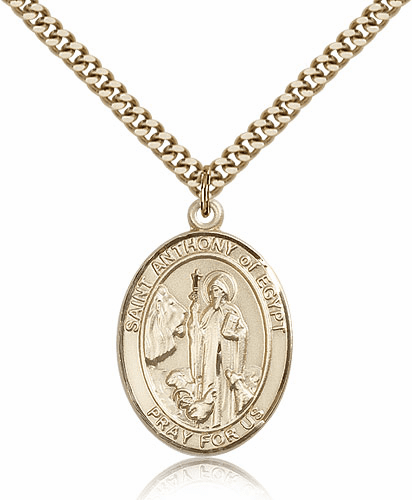 St Anthony of Egypt Saint 14kt Gold-filled Medal Necklace