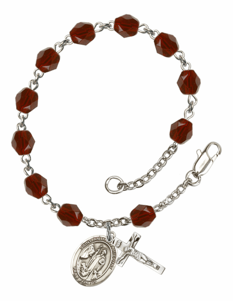 St Anthony of Egypt Silver Plate Birthstone Rosary Bracelet by Bliss