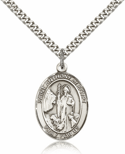 St Anthony of Egypt Sterling Silver Saint Medal Necklace