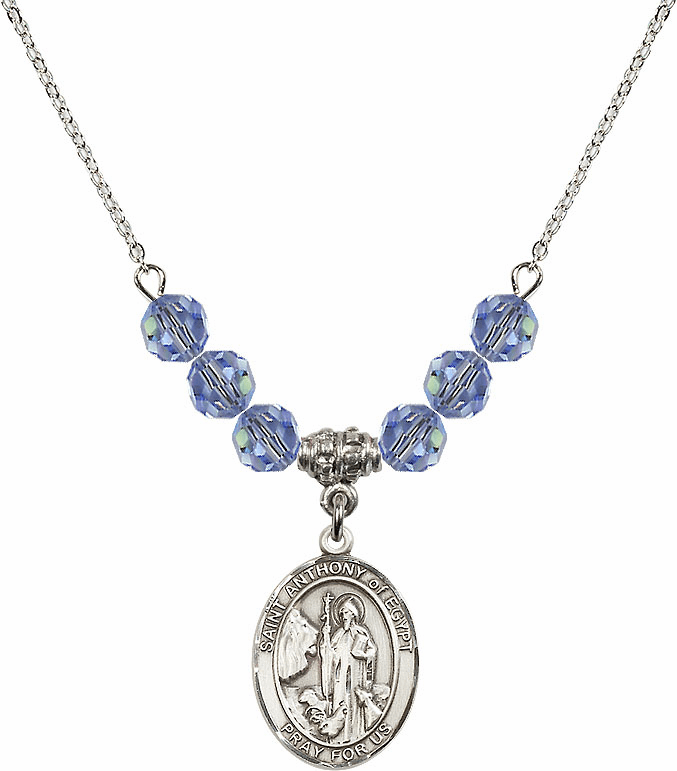 "Bliss Mfg St Anthony of Egypt Swarovski Crystal Beaded Patron Saint Necklace ""More Colors"""