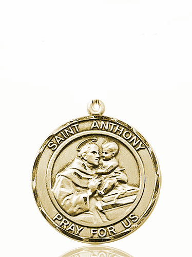 St Anthony of Padua Large Patron Saint 14kt Gold Medal by Bliss