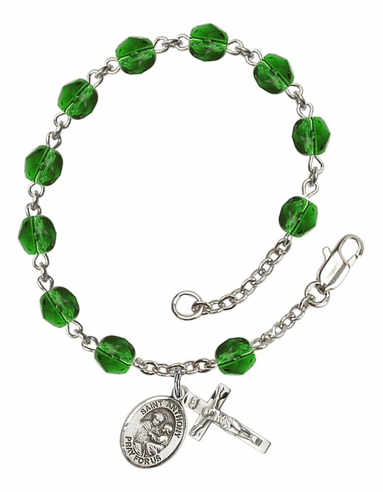 St Anthony of Padua May Emerald Birthstone Rosary Bracelet by Bliss