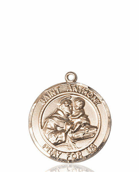 St Anthony of Padua Medium Patron Saint 14kt Gold Medal by Bliss