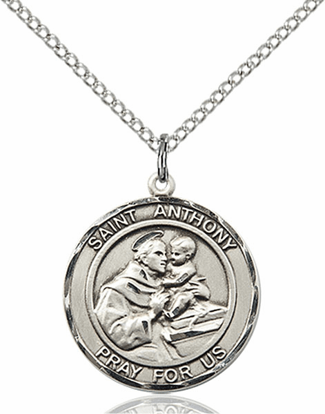 St Anthony of Padua Medium Patron Saint Sterling Silver Medal by Bliss