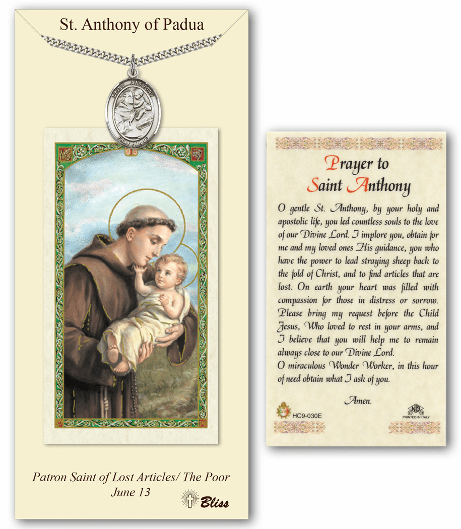 Bliss Mfg St Anthony of Padua Prayer & Card Pendant Gift Set