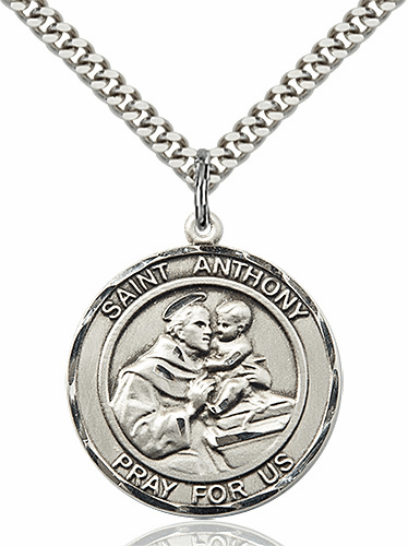 St Anthony of Padua Round Sterling Silver Patron Saint Medal Necklace by Bliss