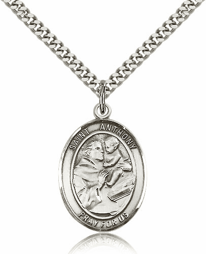 St Anthony of Padua Sterling Silver Saint Medal Necklace