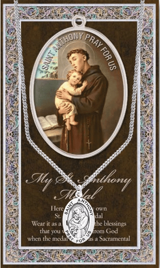 St Anthony Pewter Patron Saint Medal Necklace with Prayer Pamphlet by Hirten