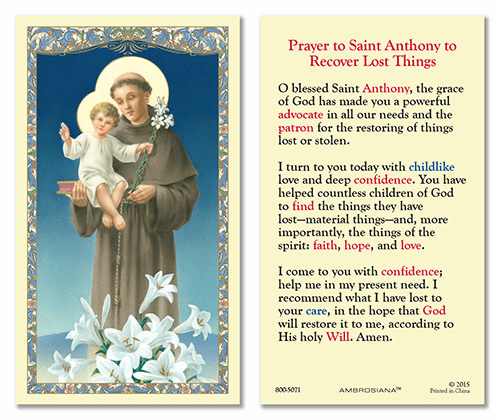 St Anthony Prayer to Recover Lost Things Gerffert 25pkg Holy Cards