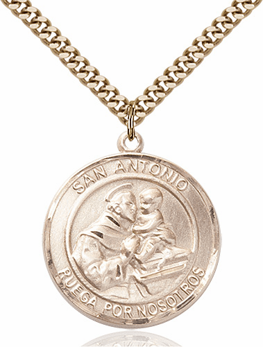 St Anthony Spanish San Antonio Large Patron Saint 14kt Gold-filled Medal by Bliss