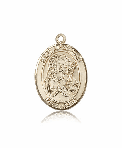 St Apollonia 14kt Gold Patron Saint Medal Pendant by Bliss