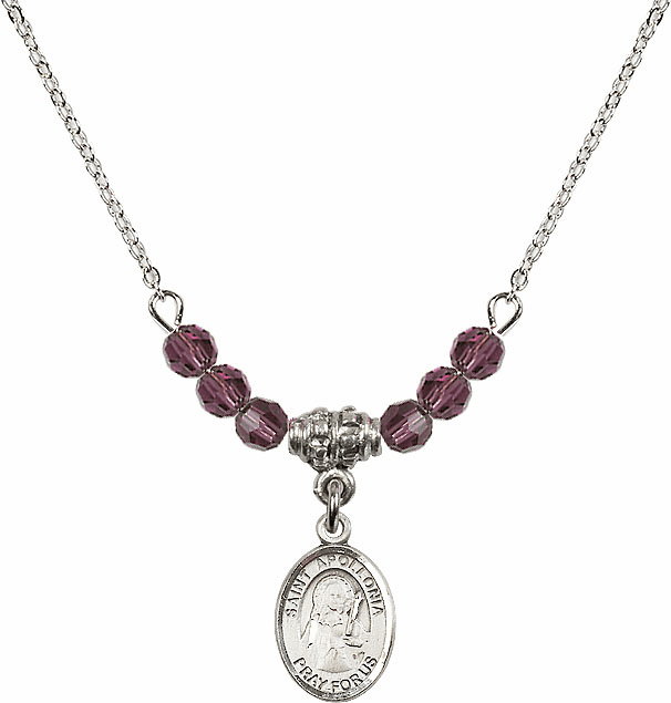 St Apollonia 4mm Swarovski Crystal February Amethyst Necklace by Bliss Mfg