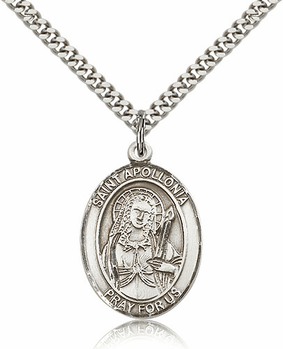 St Apollonia Patron Saint of Dentists Pewter Saint Medal Necklace by Bliss