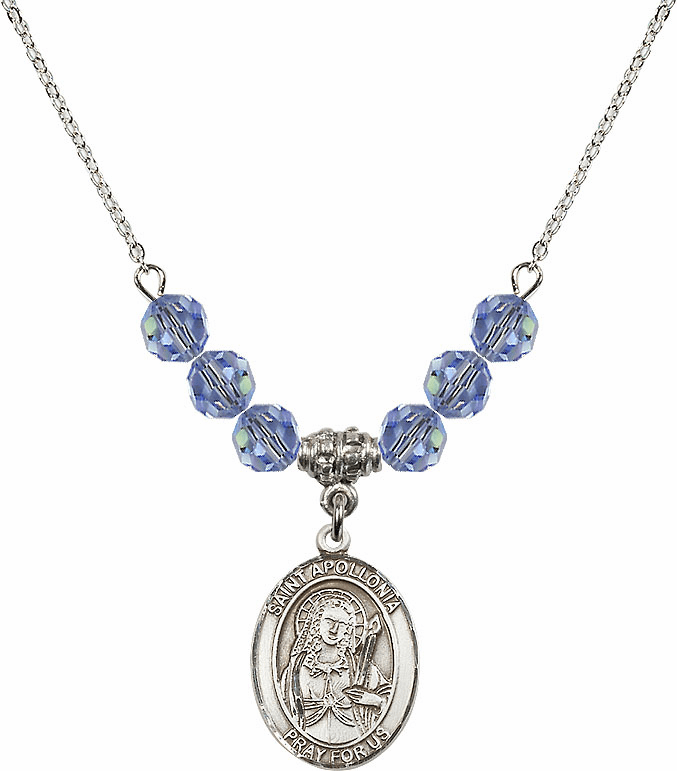 St Apollonia Swarovski Crystal Beaded Patron Saint Necklace by Bliss Mfg