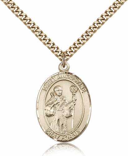 St Augustine Patron Saint 14kt Gold-Filled Medal Necklace by Bliss