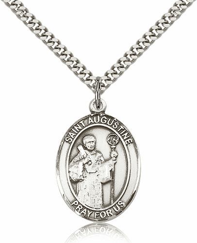 St Augustine Sterling Silver Saint Medal Necklace by Bliss