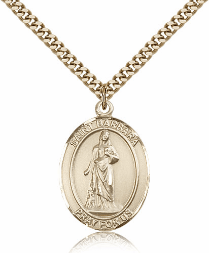 St Barbara 14kt Gold Filled Saint Medal Pendant by Bliss Manufacturing
