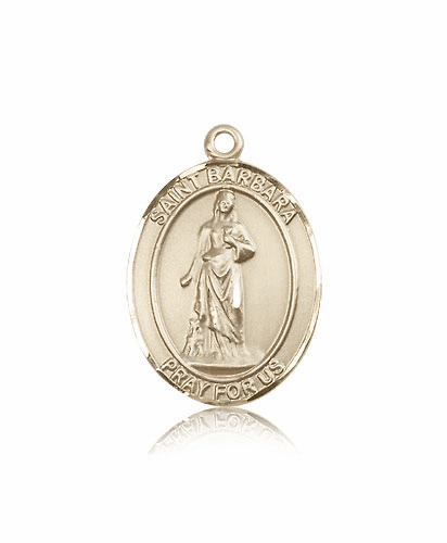 St Barbara 14kt Gold Patron Saint Medal Pendant by Bliss Mfg