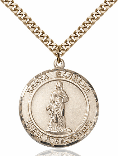 St Barbara Spanish Large Patron Saint 14kt Gold-filled Medal by Bliss