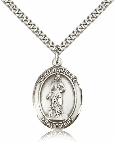 St Barbara Sterling-Filled Saint Patron Saint of Architects Medal Necklace by Bliss