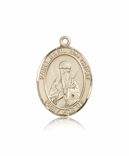 St Basil the Great 14kt Gold Saint Medal Pendant by Bliss