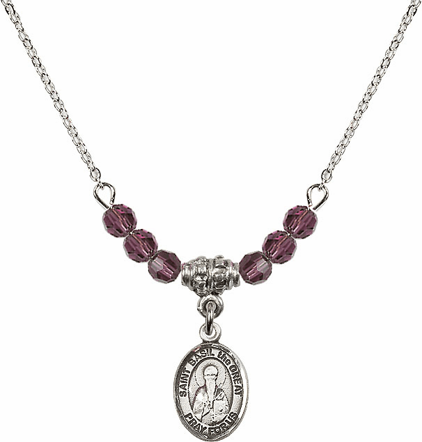 St Basil the Great 4mm Swarovski Crystal February Amethyst Necklace by Bliss Mfg