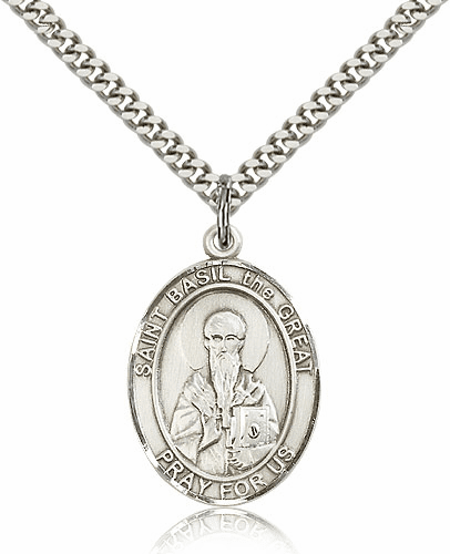 St Basil the Great Silver-Filled Patron Saint Medal by Bliss
