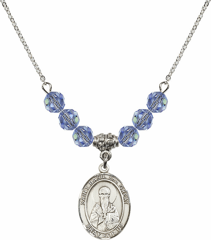 St Basil the Great Swarovski Crystal Beaded Patron Saint Necklace by Bliss Mfg