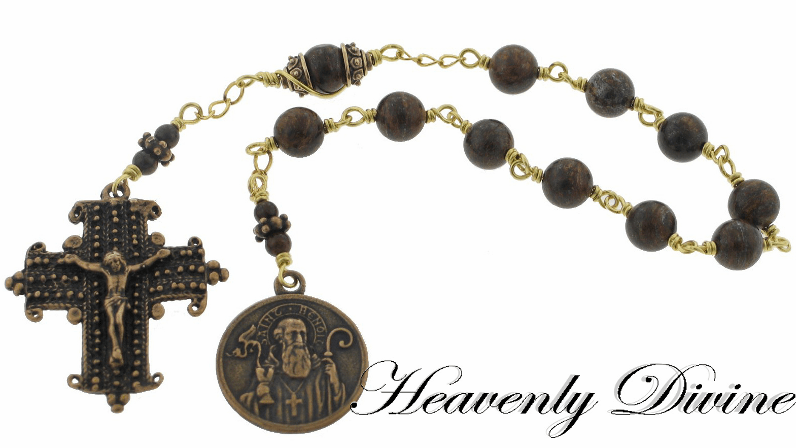 St Benedict Bronzite Gemstone Wire Wrapped Pocket Rosary by Heavenly Divine
