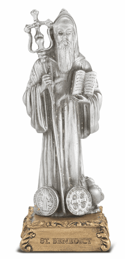 St Benedict Patron Saint Pewter Statue on Gold Tone Base by Hirten
