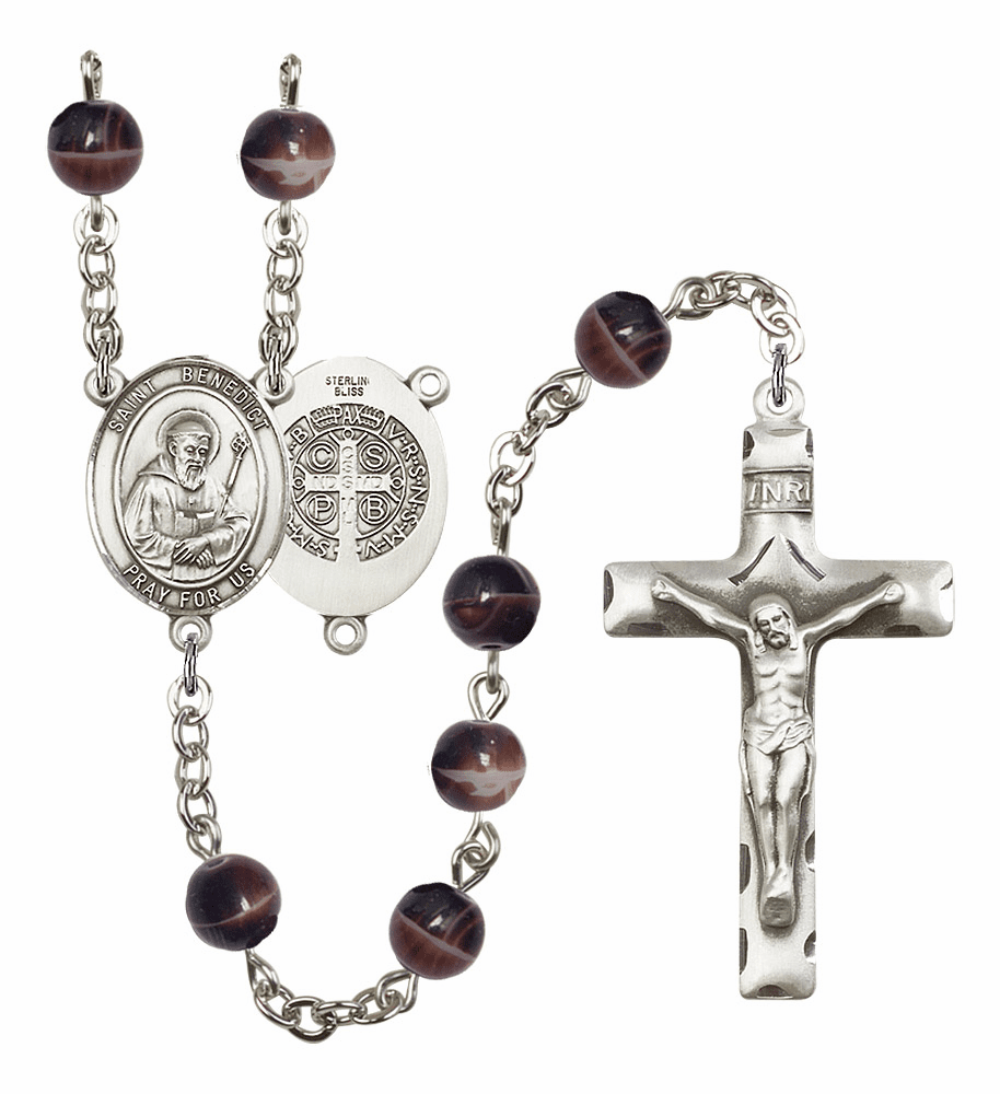 St Benedict 7mm Brown Gemstone Rosary by Bliss