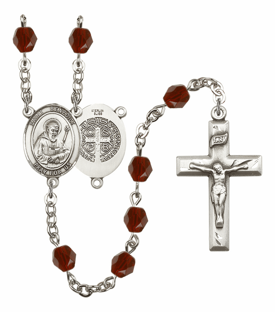 St Benedict Birthstone Crystal Rosary by Bliss