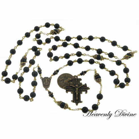 St Benedict Wire Wrapped Bronze Black Onyx Rosary by Heavenly Divine