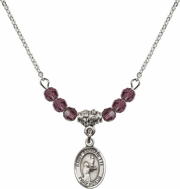 St Bernadette 4mm Swarovski Crystal February Amethyst Necklace by Bliss Mfg