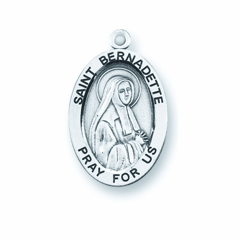 St Bernadette Large Oval Sterling Silver Patron Saint Medals by HMH Religious