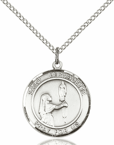 St Bernadette Medium Patron Saint Silver-filled Medal by Bliss