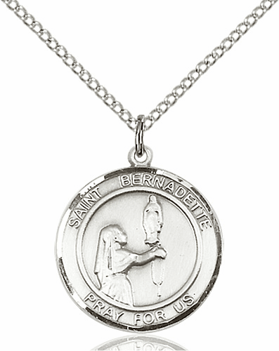 St Bernadette Medium Patron Saint Sterling Silver Medal by Bliss