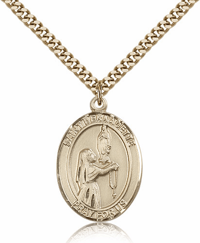 St Bernadette Patron Saint Medal Necklace by Bliss Manufacturing