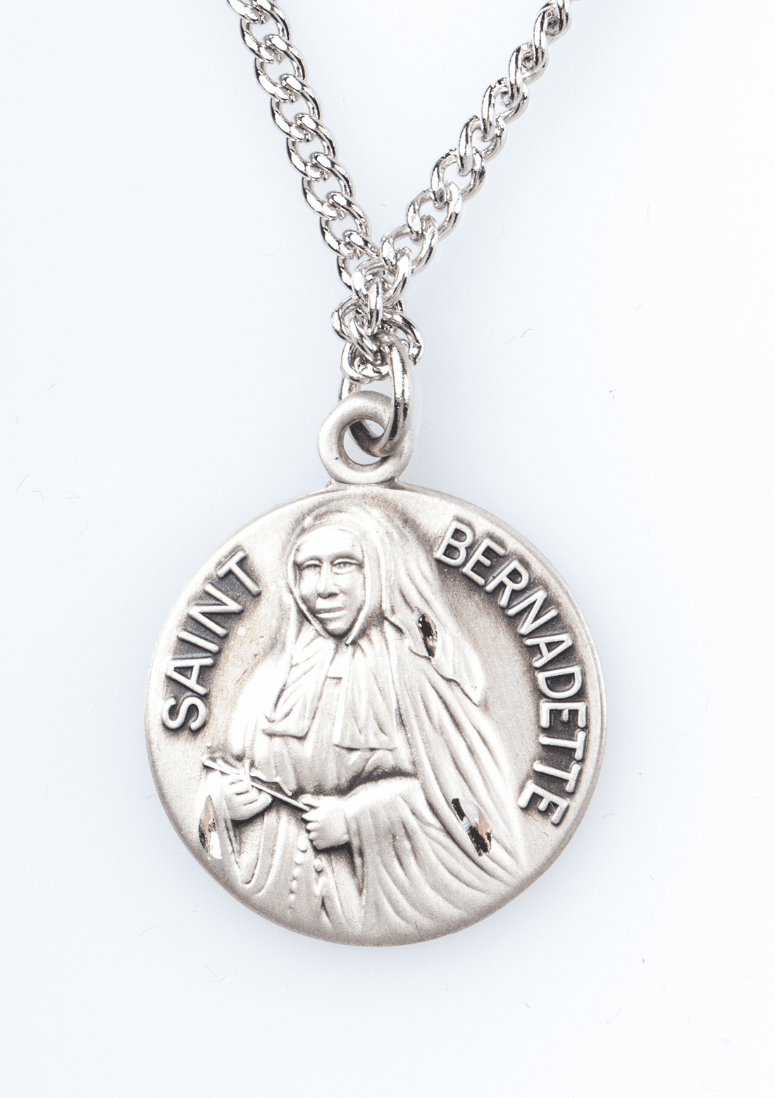 "St Bernadette Saint Medal Pendant w/18"" Chain by Jeweled Cross"