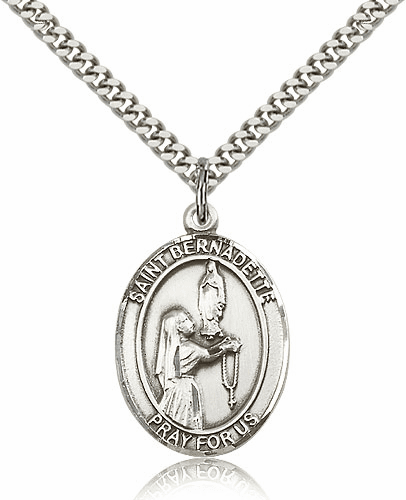 St Bernadette Sterling Silver Saint Medal Necklace by Bliss