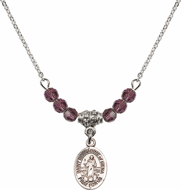 St Bernadine Of Sienna 4mm Swarovski Crystal February Amethyst Necklace by Bliss Mfg