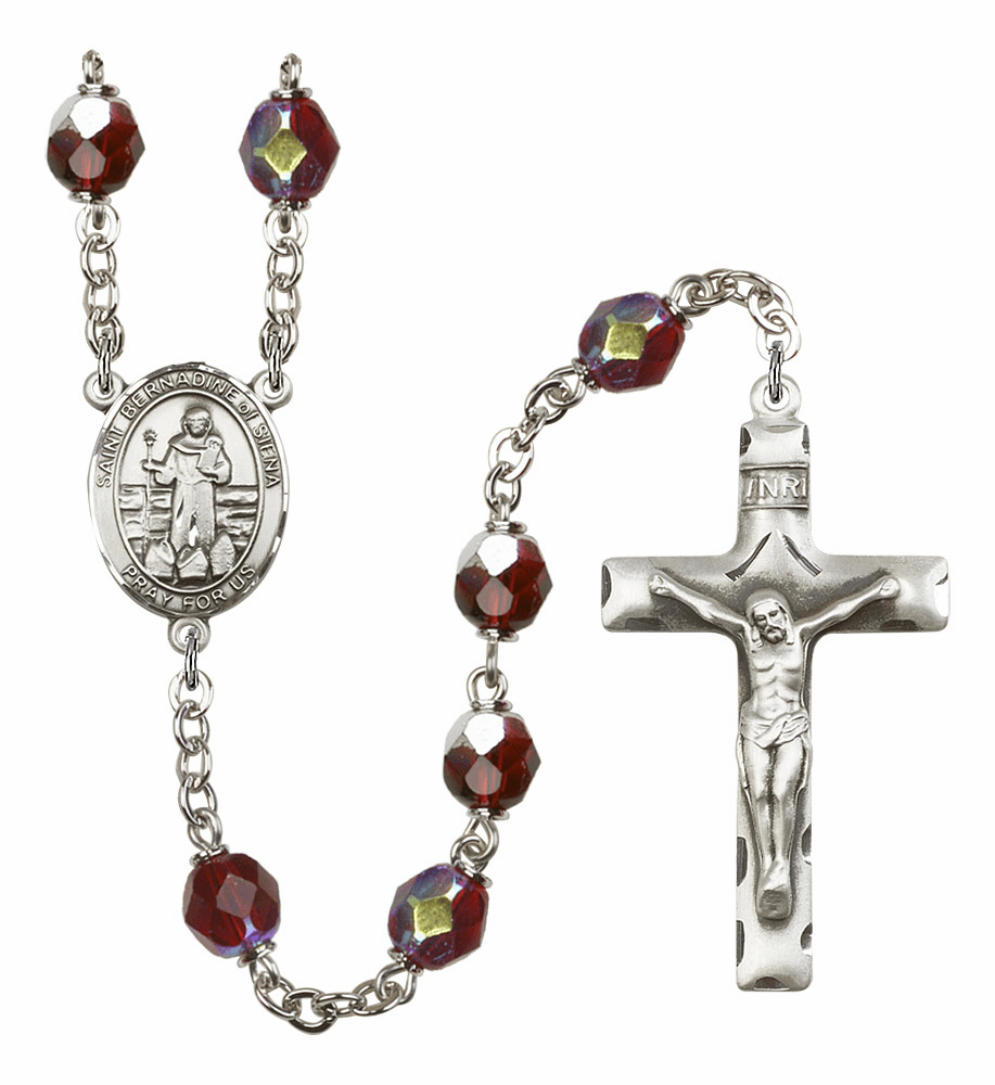 St Bernadine Of Sienna 7mm Lock Link AB Garnet Rosary by Bliss Mfg
