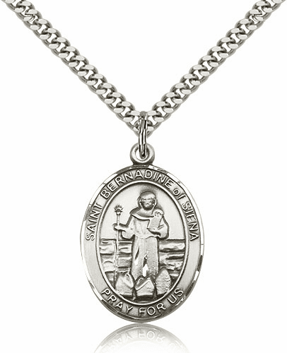 St Bernadine Of Sienna Pewter Patron Saint Necklace by Bliss