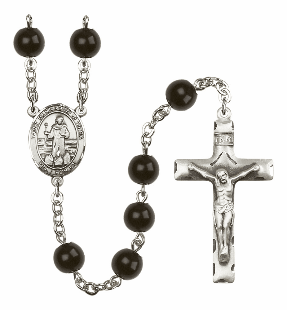 Bliss Mfg St Bernadine Of Sienna 7mm Black Onyx Rosary
