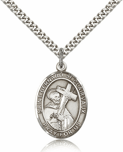 St Bernard of Clairvaux Pewter Patron Saint Necklace by Bliss