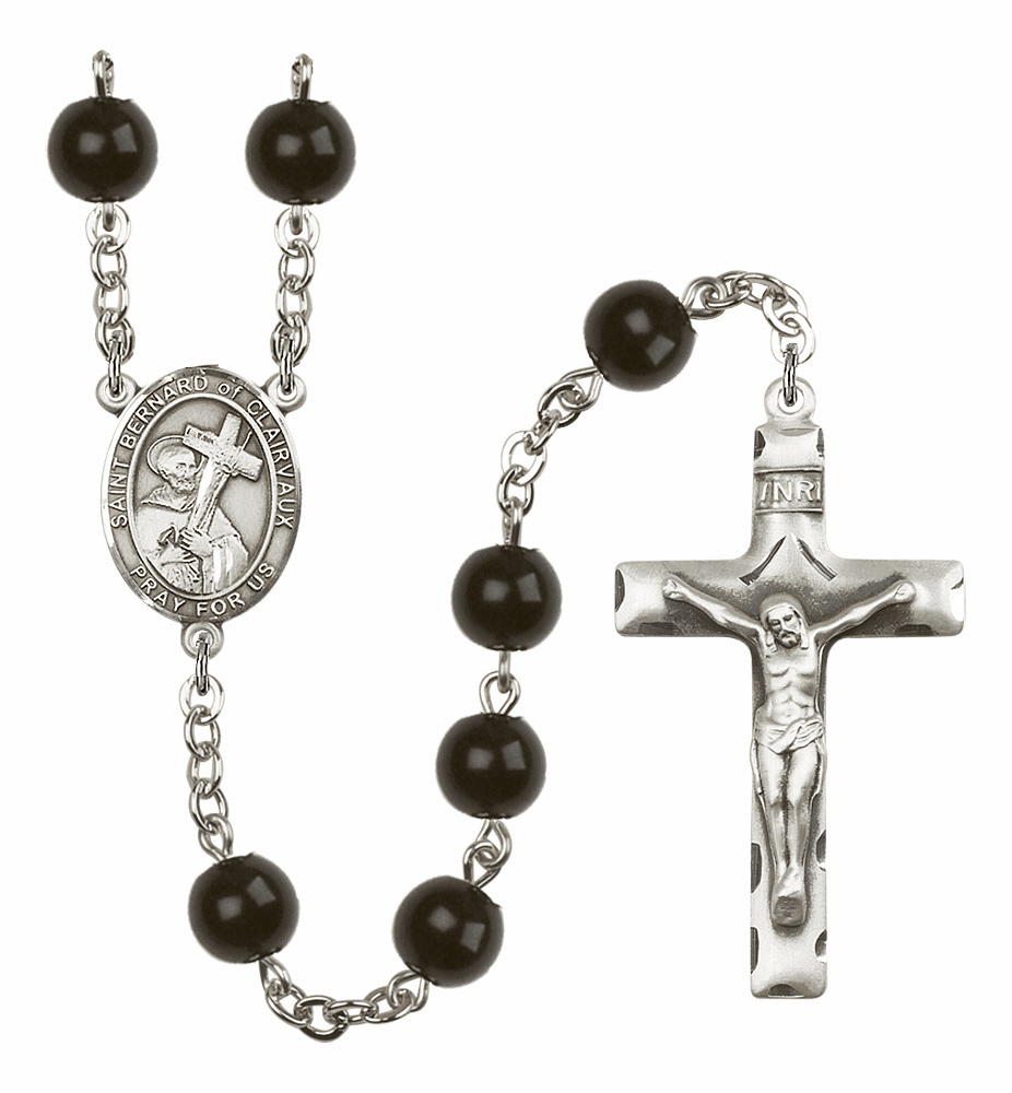 Bliss Mfg St Bernard of Clairvaux Silver 7mm Onyx Rosary