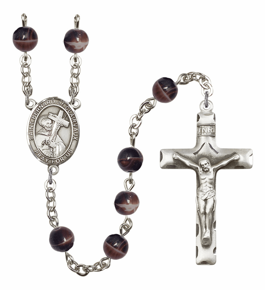 St Bernard of Clairvaux 7mm Brown Gemstone Rosary by Bliss